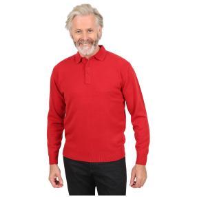 Cashmerelike Herren-Pullover, Polokragen rot