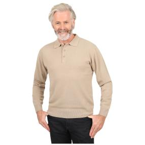 Cashmerelike Herren-Pullover, Polokragen beige