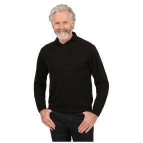 Cashmerelike Herren-Pullover, Schalkragen schwarz