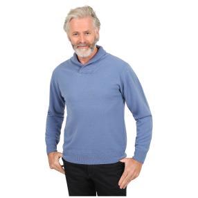 Cashmerelike Herren-Pullover, Schalkragen denim