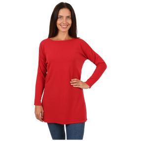 Cashmerelike Damen-Pullover, U-Boot rot