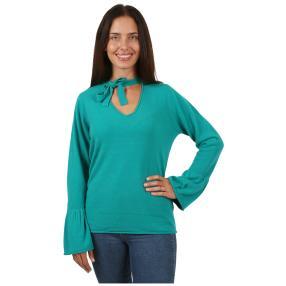 Cashmerelike Damen-Pullover, V-Ausschnitt lagune