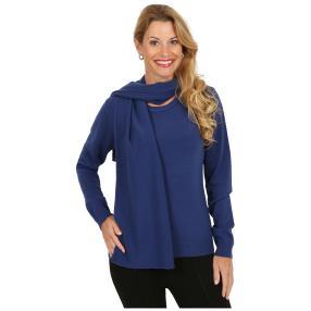 Cashmerelike Damen-Pullover mit Schal marine