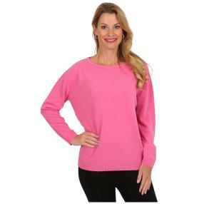 Cashmerelike Damen-Pullover mit Strass fuchsia