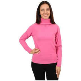 Cashmerelike Damen-Pullover Rollkragen fuchsia