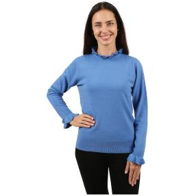 Cashmerelike Damen-Pullover Volants blau
