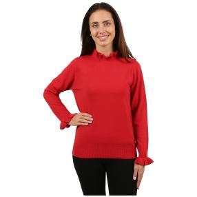 Cashmerelike Damen-Pullover Volants rot