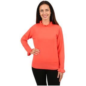 Cashmerelike Damen-Pullover Volants koralle