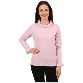 Cashmerelike Damen-Pullover Volants rosa