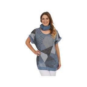 """Damen-Shirt """"Patch"""" mit Pailetten und Tuch, Blau"""