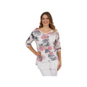 """Damen-Shirt """"Rosy"""" mit Knöpfen, 2-lagig, weiß"""