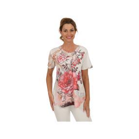 Damen-Shirt Pink Rose mit Spitze, multicolor