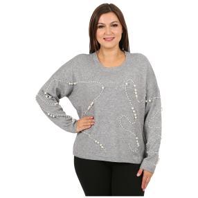 "Damen-Pullover ""Beloved Pearls"" , grau"