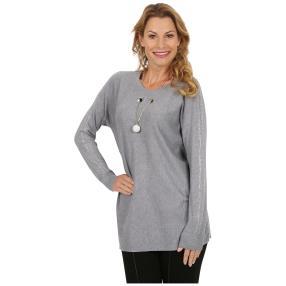 """Damen-Pullover """"Ava"""" mit Statementkette grau"""
