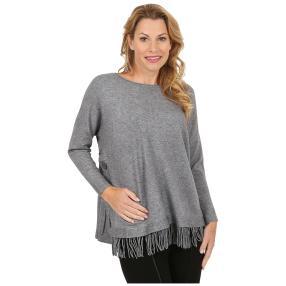 "Damen-Pullover ""Svenja"" mit Fransen grau"
