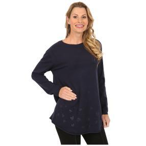 """Damen-Pullover """"Zoe"""" mit Herzchen blau"""