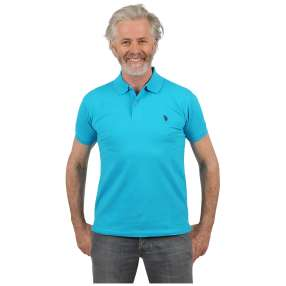 U.S. POLO ASSN. Herren-Poloshirt crystal blue