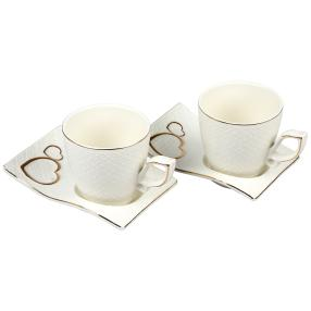 Porzellan-Kaffeeservice mit Goldrand
