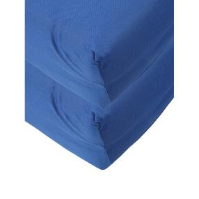 2x AllSeasons Spannbettlaken blau, 100 x 200 cm