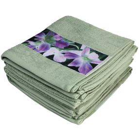 Premium Handtuch 4er Set, Orchideenbordüre