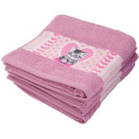Premium Handtuch 4er Set, Kätzchenbordüre