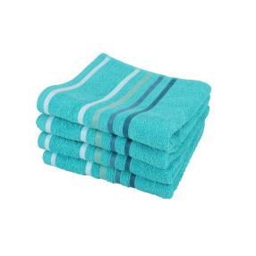 Superflausch Handtuch, Blau, 50 x 100 cm, 4-teilig