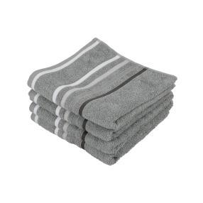Superflausch Handtuch, Grau, 50 x 100 cm, 4-teilig