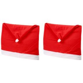 Stuhlhusse Weihnachten, Rot-Weiß, 2-teilig
