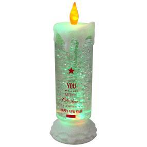 XXL Glitzerkerze Weihnachten, mit Farbwechsel