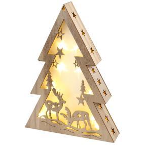 LED Holztanne mit Hologrammeffekt