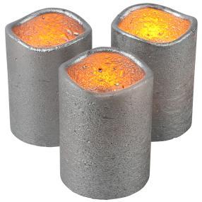 LED Echtwachskerze silber, 3er Set