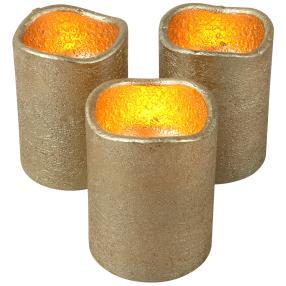 LED Echtwachskerze gold, 3-teilig
