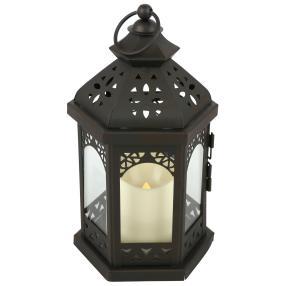 Metall-Laterne schwarz, mit LED Kerze