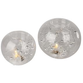2er Set Teelichthalter rund, beleuchtet