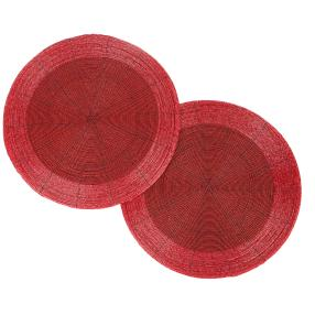 Platzset Glasperlen Rot, 36 cm, Rund, 2er-Set