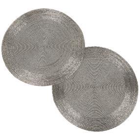 Platzset Glasperlen Silber, 36 cm, Rund, 2er-Set
