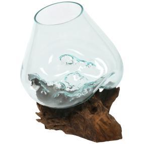 Darimana Kaffeewurzel mit Glas, 25-30 x 30-35 cm