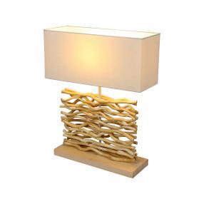 GLOBO Tischleuchte mit Holzfuß, 40 x 15 x 15 cm