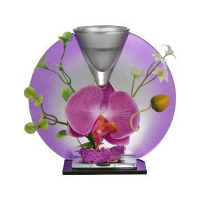 Glas-Deko Orchidee mit Teelichthalter