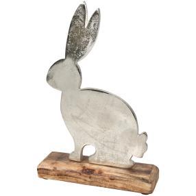 Dekofigur Hase aus Metall, mit Mangoholz-Sockel
