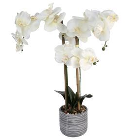 Kunstblume Orchidee XL, weiß, 57 cm