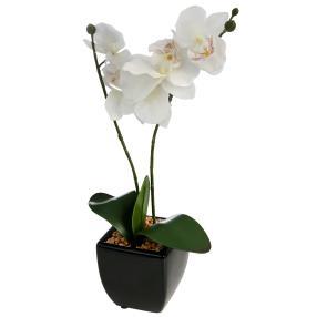 Kunstblume Orchidee im Topf, weiß, 43 cm