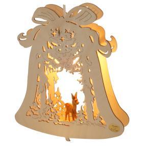 Fensterlicht Glocke mit Reh, 24 x 28 x 4,5 cm