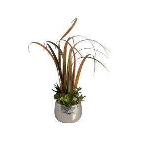 Dekogras Arrangement mit Vase & LEDs
