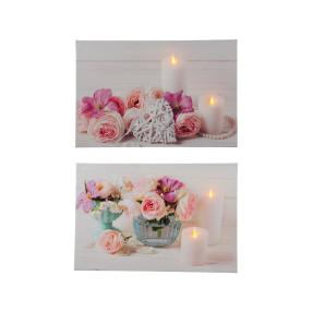 LED-Bilder Blumenarrangement, 2er Set