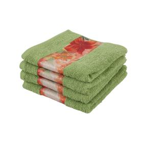 Cottonbelle Handtuch, grün mit Blumen, 4er Set
