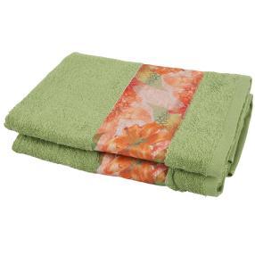 Cottonbelle Duschtuch, Grün mit Blumen, 2er Set
