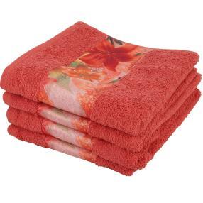 Cottonbelle Handtuch terra mit Blumen, 4er Set