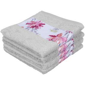 Premium Handtuch mit Bordüre Hellgrau,4er-Set