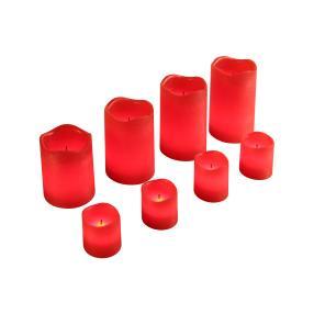 LED-Kerzenset rot-metallic, 8-teilig